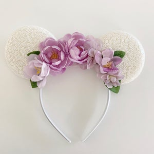 Image of Floral Mouse Ears - White with Springtime Blooms