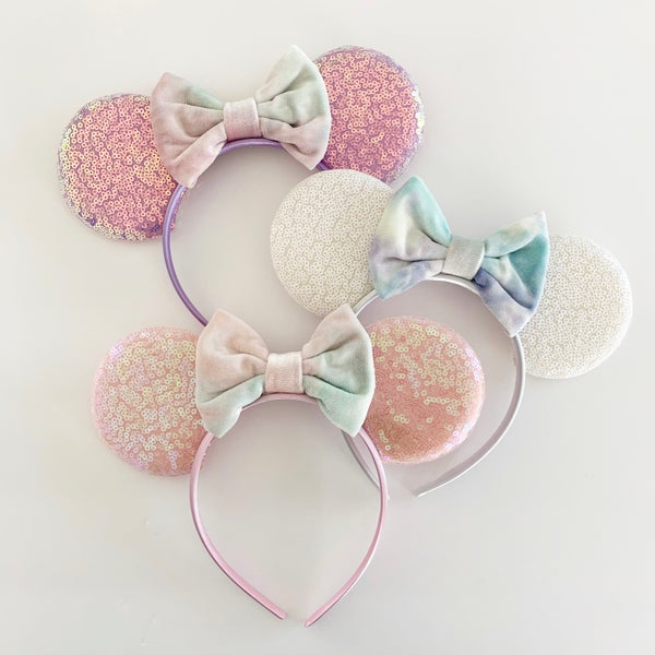 Image of Mouse Ears with Tie Dye Velvet Bows