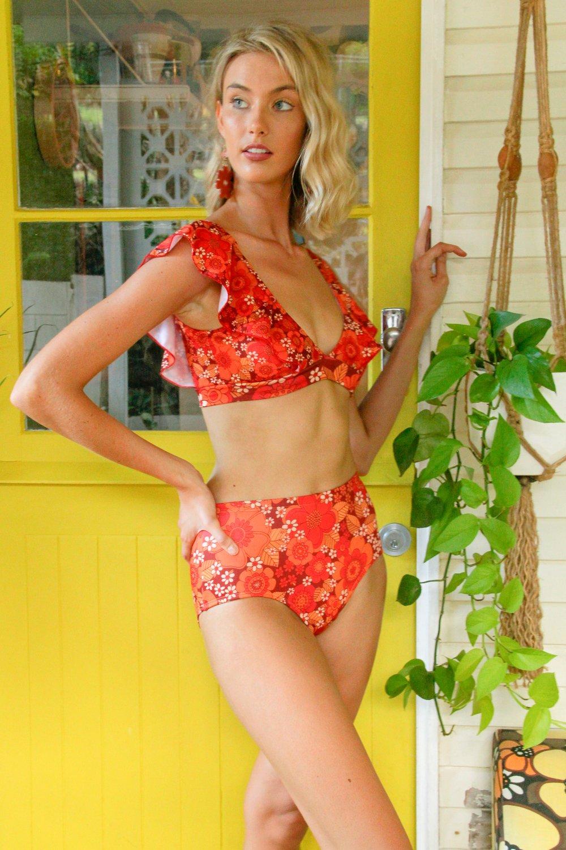 High waist bikini bottoms in Flower Power Red
