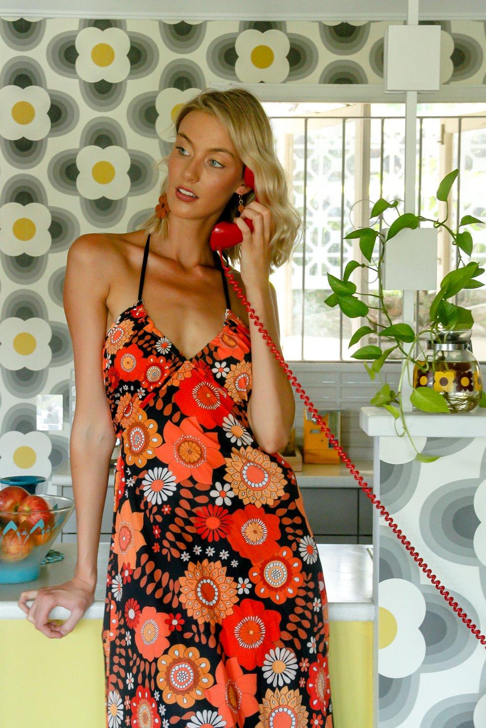 Disco darlin' Tie back Halter dress in Lover lover red