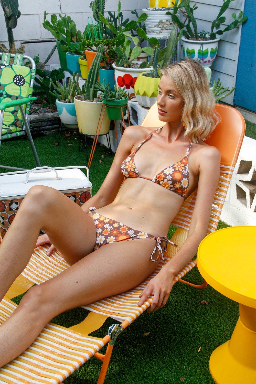 Itsy bitsy tie up bikini in Sunny side up brown