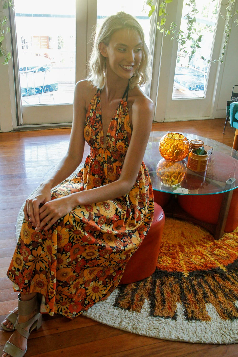 Honey bunch halter dress in Come and get your love orange