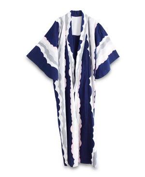 Image of Kimono af bomuld i marineblå med grafiske bølger