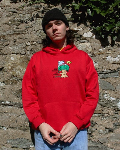 "Image of ""Climb a tree"" embroidered hoodie (Red)"