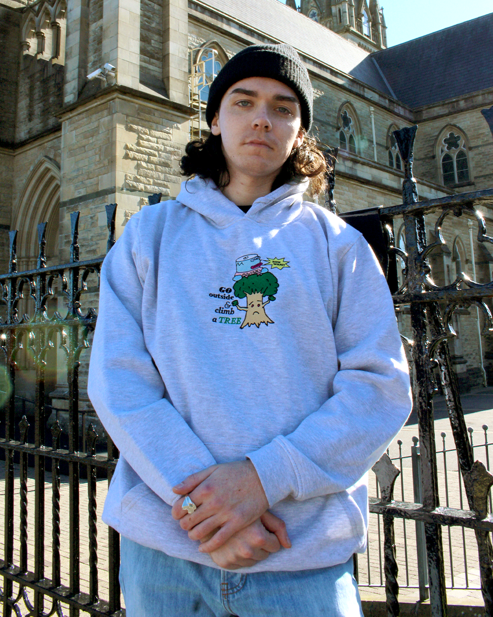 """Image of """"Climb a tree"""" embroidered hoodie (Ash Grey)"""