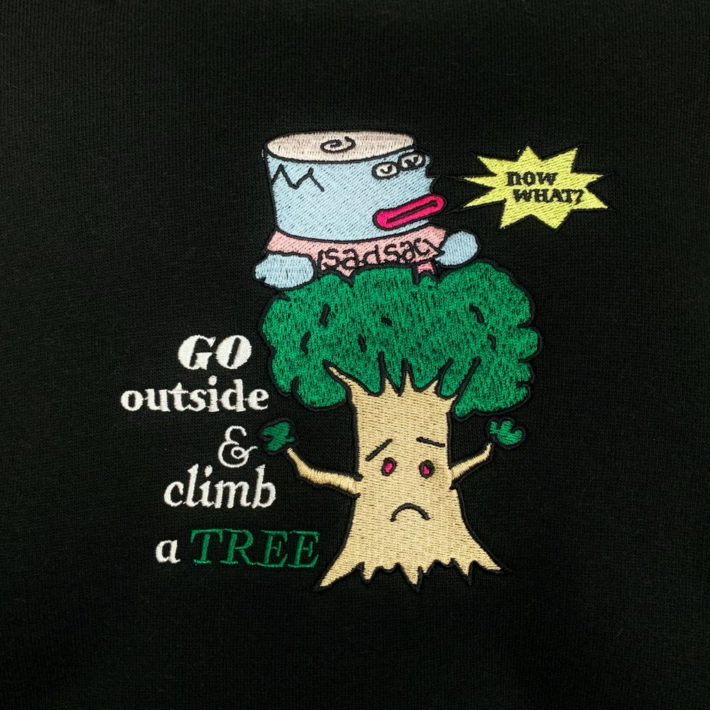 """Image of """"Climb a tree"""" embroidered hoodie (Black)"""