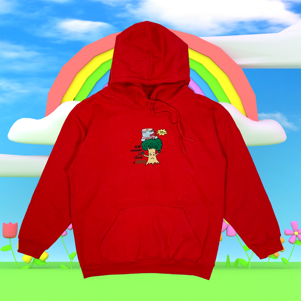 """Image of """"Climb a tree"""" embroidered hoodie (Red)"""