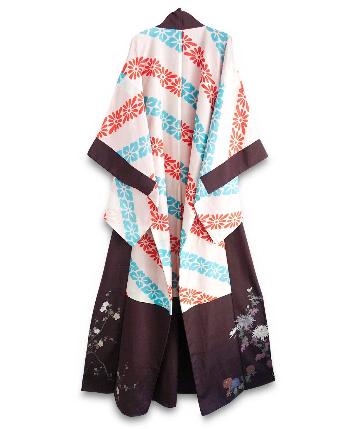 Image of Silkekimono - hvid med mønster og brokade kant