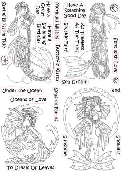 Linda Ravenscroft Mythical Creatures - Mermaids stamp collection