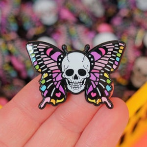 Image of Skull butterfly enamel pin - skeleton - creepy cute - pastel goth -  lapel pin badge