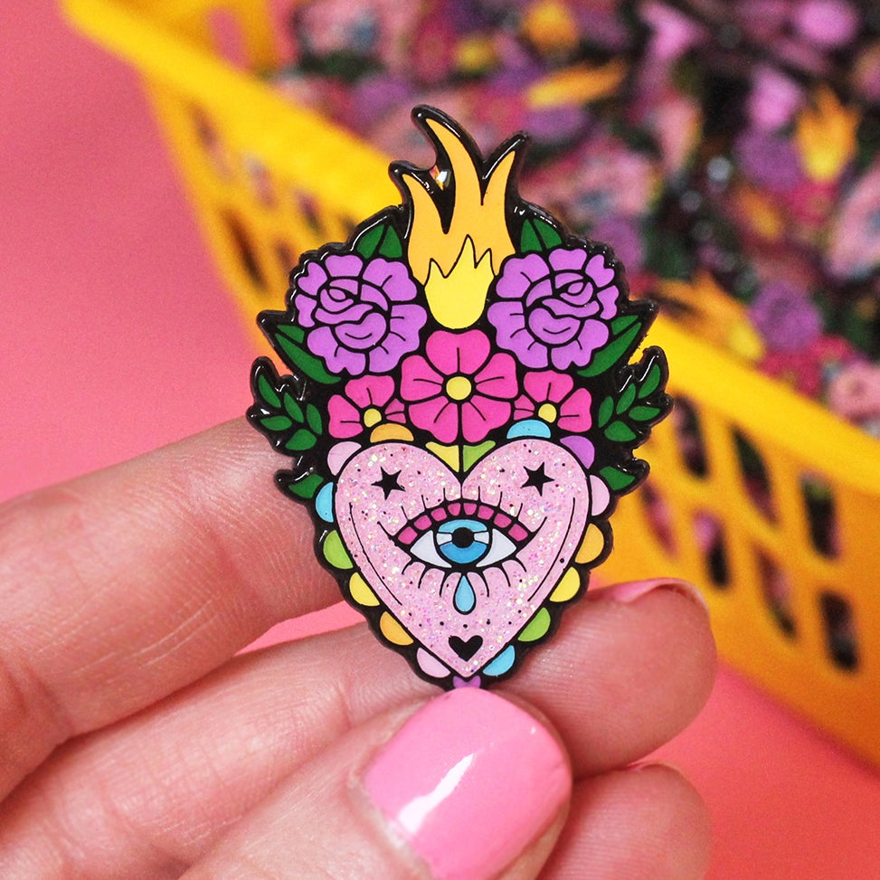 Image of Floral flaming heart enamel pin - sacred crying heart - creepy cute - pastel goth - lapel pin badge