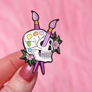 Image of Skull paint palette enamel pin - starving artist - creepy cute - pastel goth - lapel pin badge