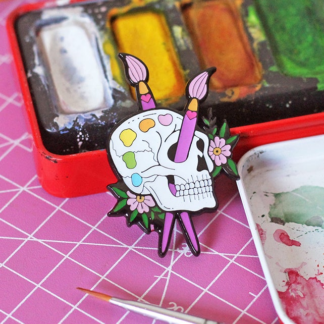 Image of Skull paint palette enamel pin - starving artist - creepy cute - pastel goth - lapel pin badge