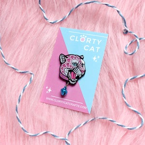 Image of Loveheart leopard with bell enamel pin - charm pin - creepy cute - pastel goth - lapel pin badge