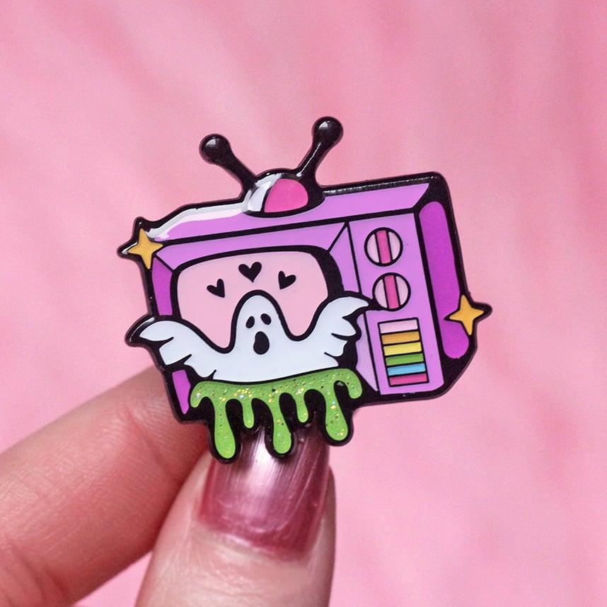 Image of Haunted TV set enamel pin - ghost pin - creepy cute - pastel goth - lapel pin badge