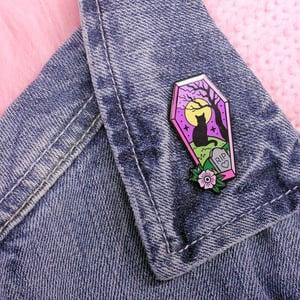 Image of Coffin cat graveyard scene enamel pin - cat pin - creepy cute - pastel goth - lapel pin badge