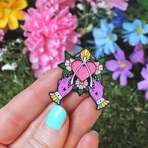 Image of Wishbone & witchy hands enamel pin - witch pin - creepy cute - pastel goth - lapel pin badge