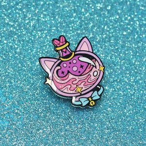 Image of Cat potion bottle enamel pin - witchy pin - creepy cute - pastel goth - lapel pin badge