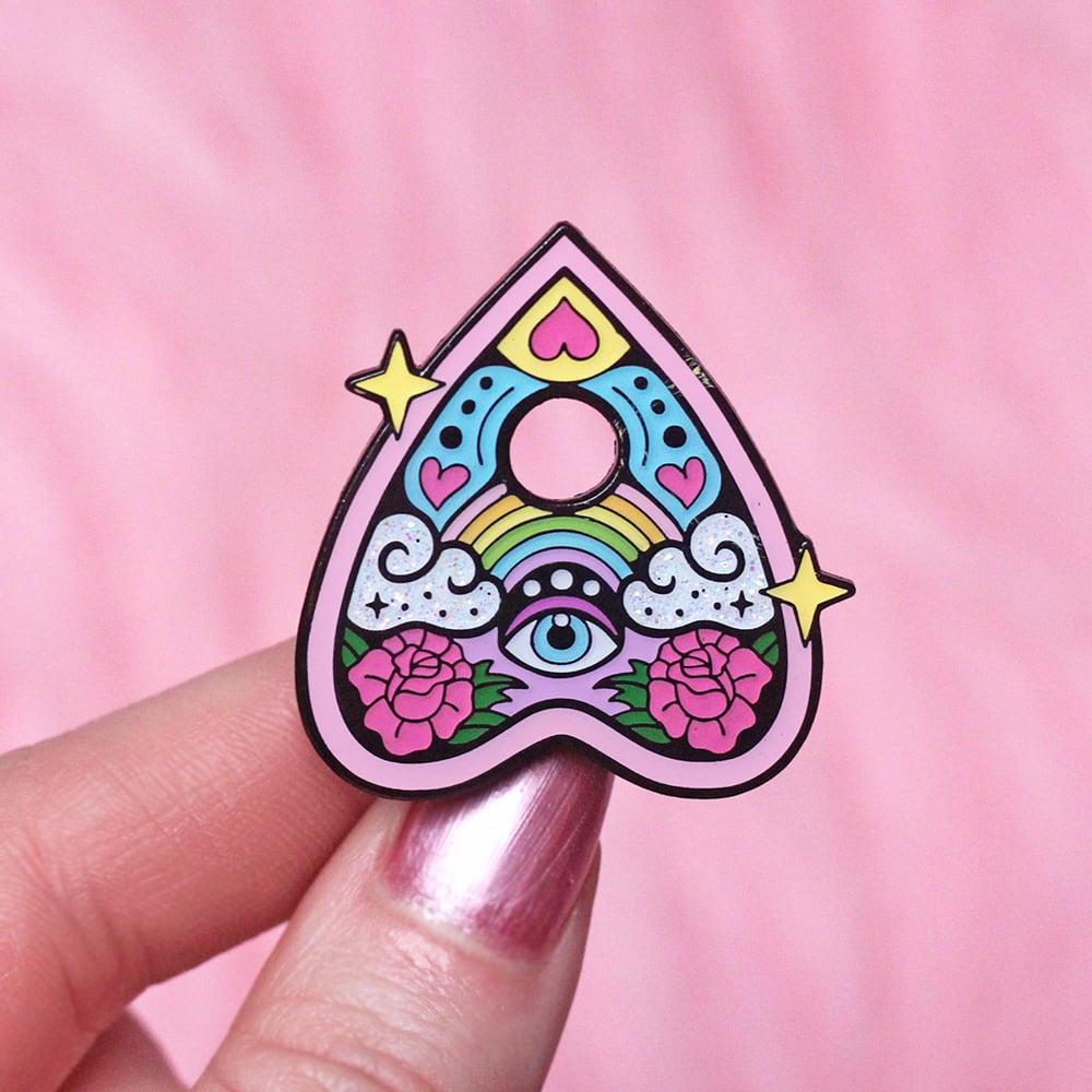 Image of Rainbow ouija planchette enamel pin - talking board - creepy cute - pastel goth - lapel pin badge