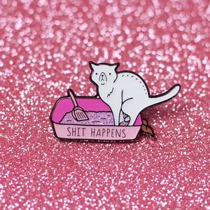 Image of Shit Happens cat enamel pin - litter box - sweary pin - iridescent glitter - lapel pin badge