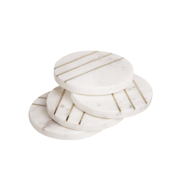 Image of Marble and Brass Coasters Set