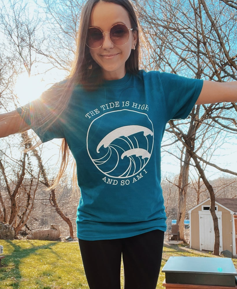 Image of THE TIDE IS HIGH AND SO AM I - Galapagos blue t-shirt