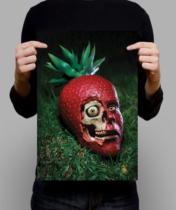"Image of SIGNED Poster - Strawberry Skull 11"" X 17"""