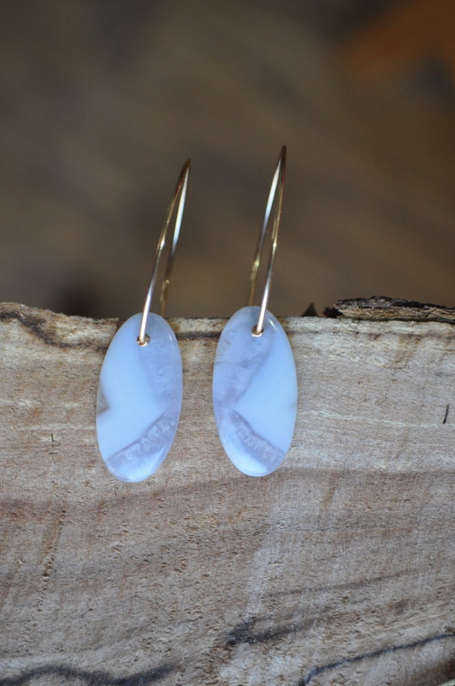 Image of OOAK Blue Lace Agate Oval Drops