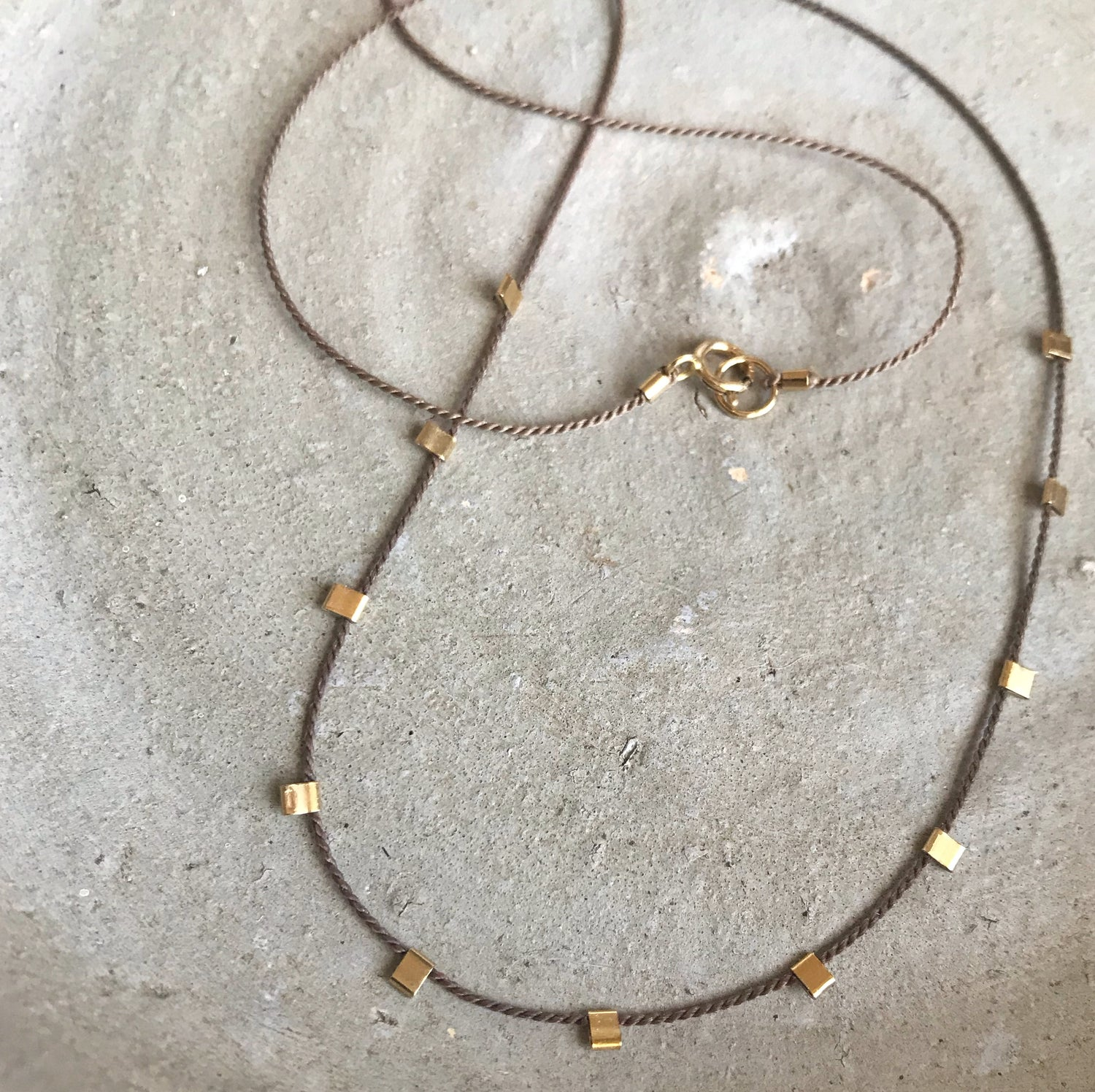 Image of Silk Thread Necklace with Gold Details