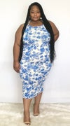 BLUE FLORAL PLUS SIZE SPAGHETTI STRAP BODYCON DRESS