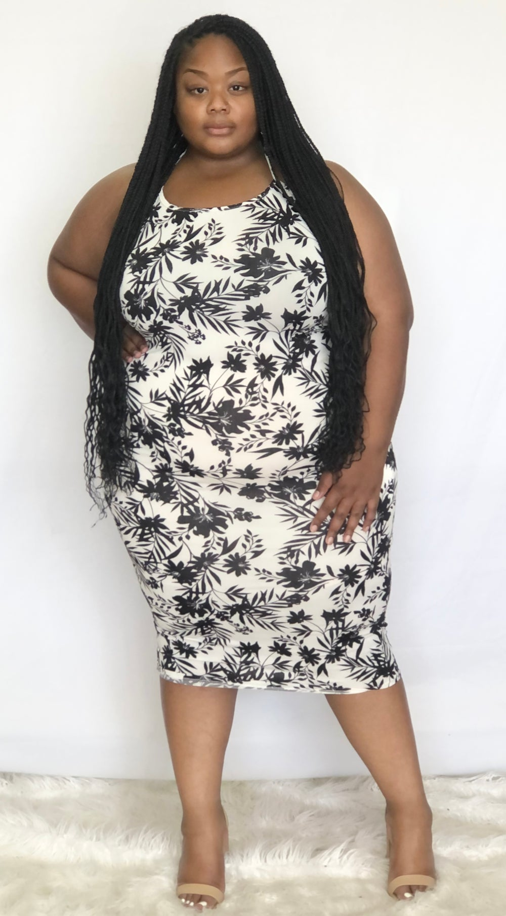 Image of BLACK FLORAL  PLUS SIZE SPAGHETTI STRAP BODYCON DRESS