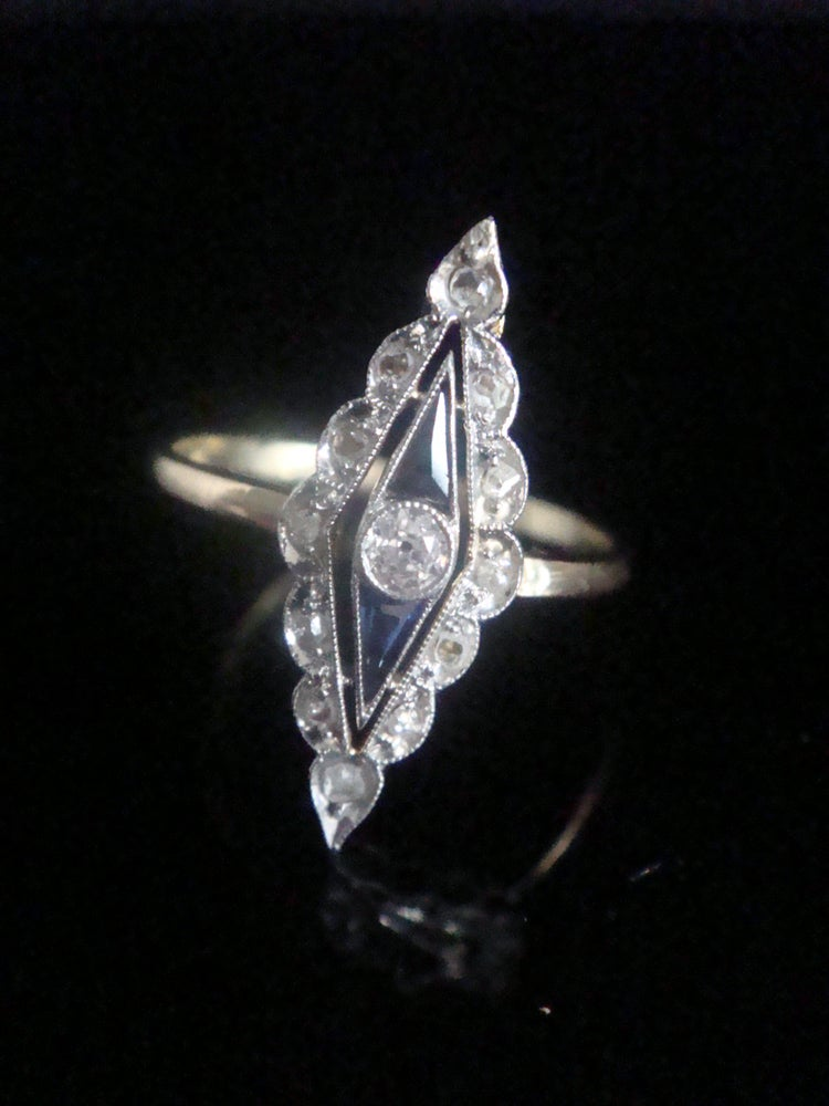 Image of ART DECO 18CT PLATINUM NATURAL SAPPHIRE & OLD CUT DIAMOND MARQUIS RING
