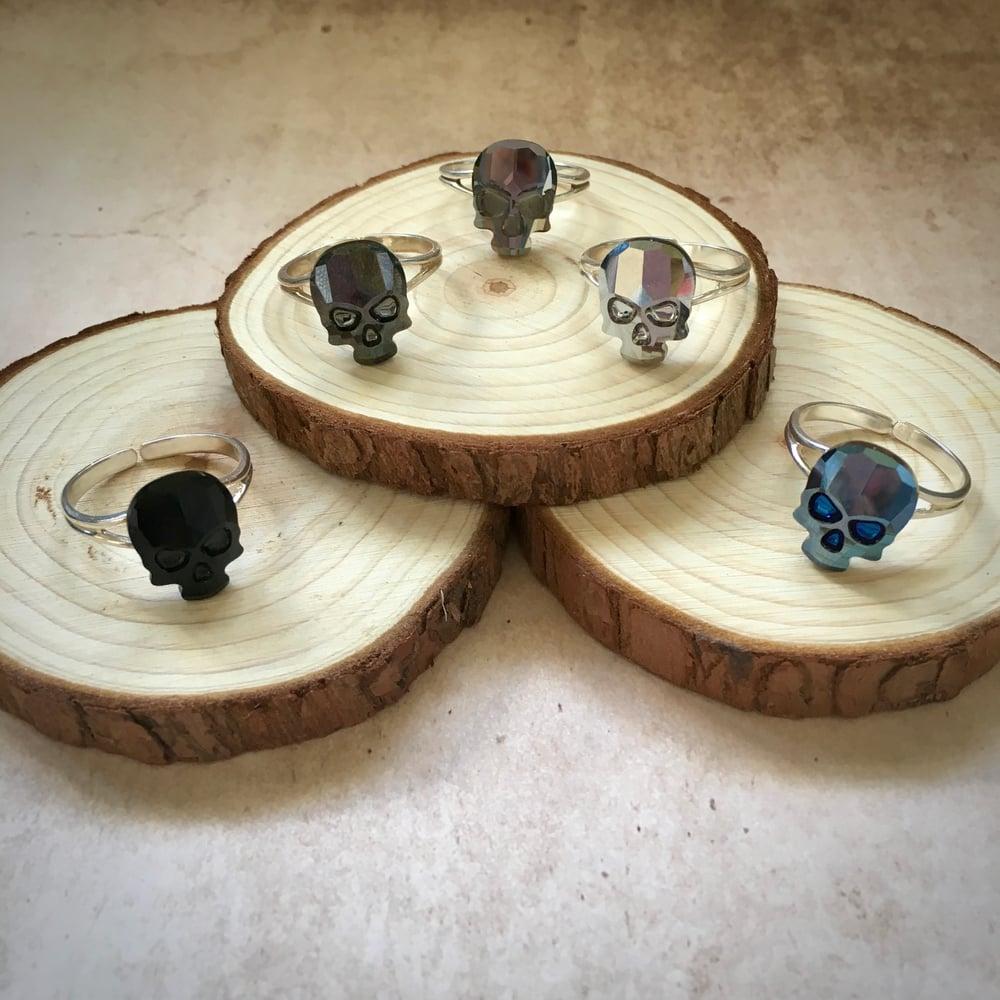 Crystal Skull Sterling Silver Adjustable Ring