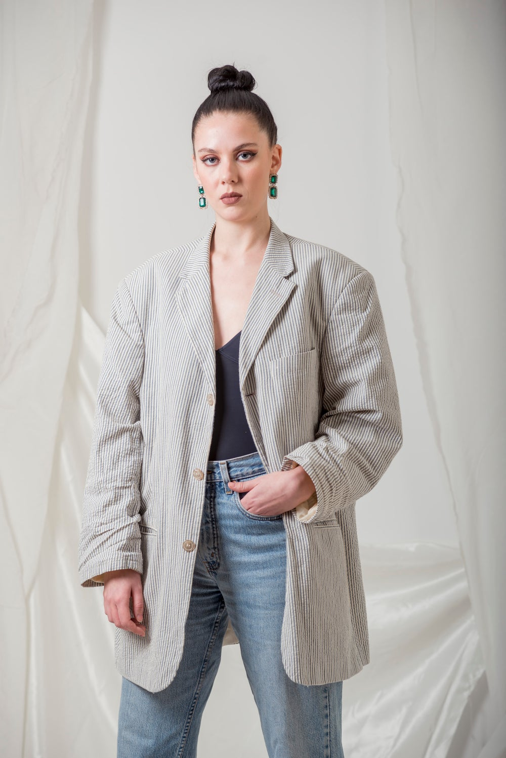 Image of Blue and Beige stripes Blazer