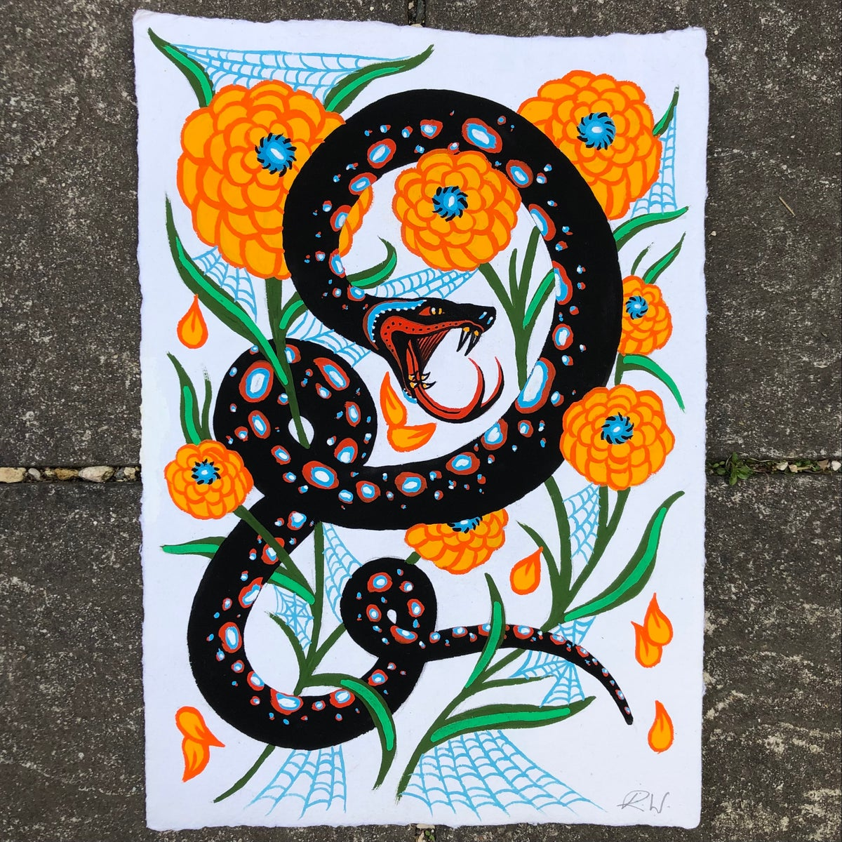 Image of Snake and yellow flowers