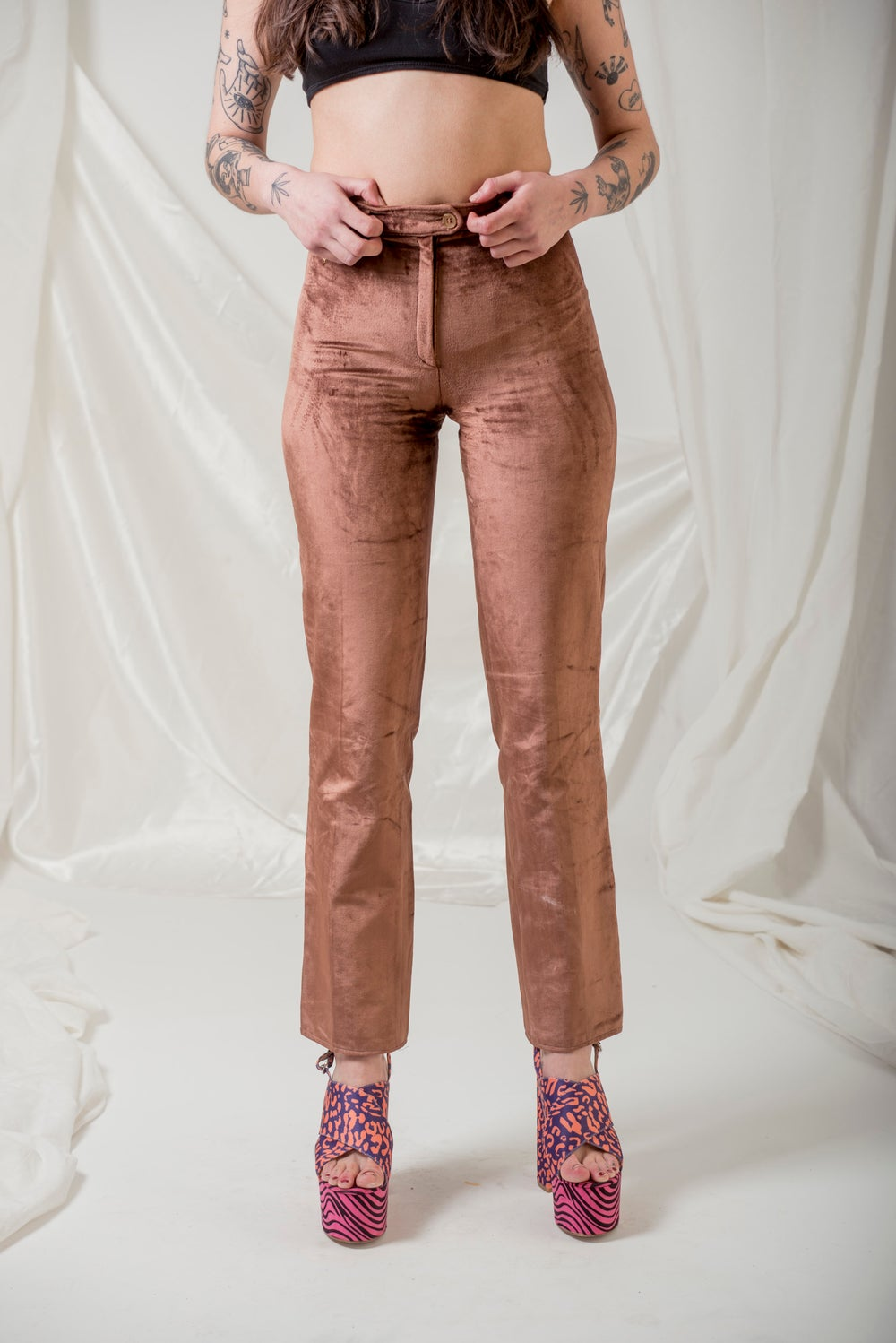 Image of Velour Powdered  Pink Trousers