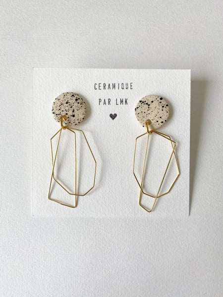 Image of Paire de boucles d'oreilles céramique et plaqué or ABSTRACT fin
