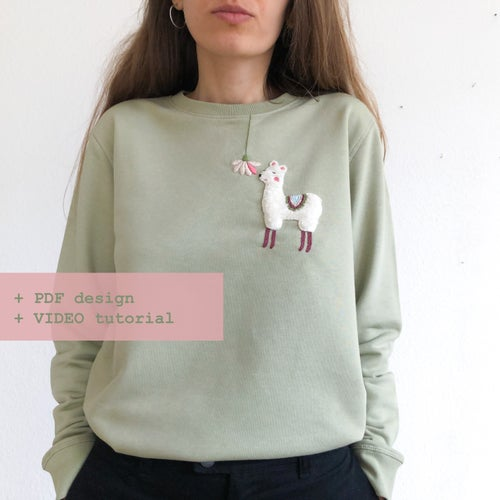 Image of Fluffy alpaca - Hand embroidery school w. Damaja // Clothing pattern No.3 with video tutorial