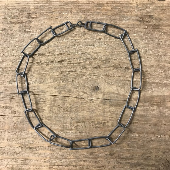 Image of oxidised rectangle link chain - chunky sterling silver necklace - brutalist blackened necklace chain