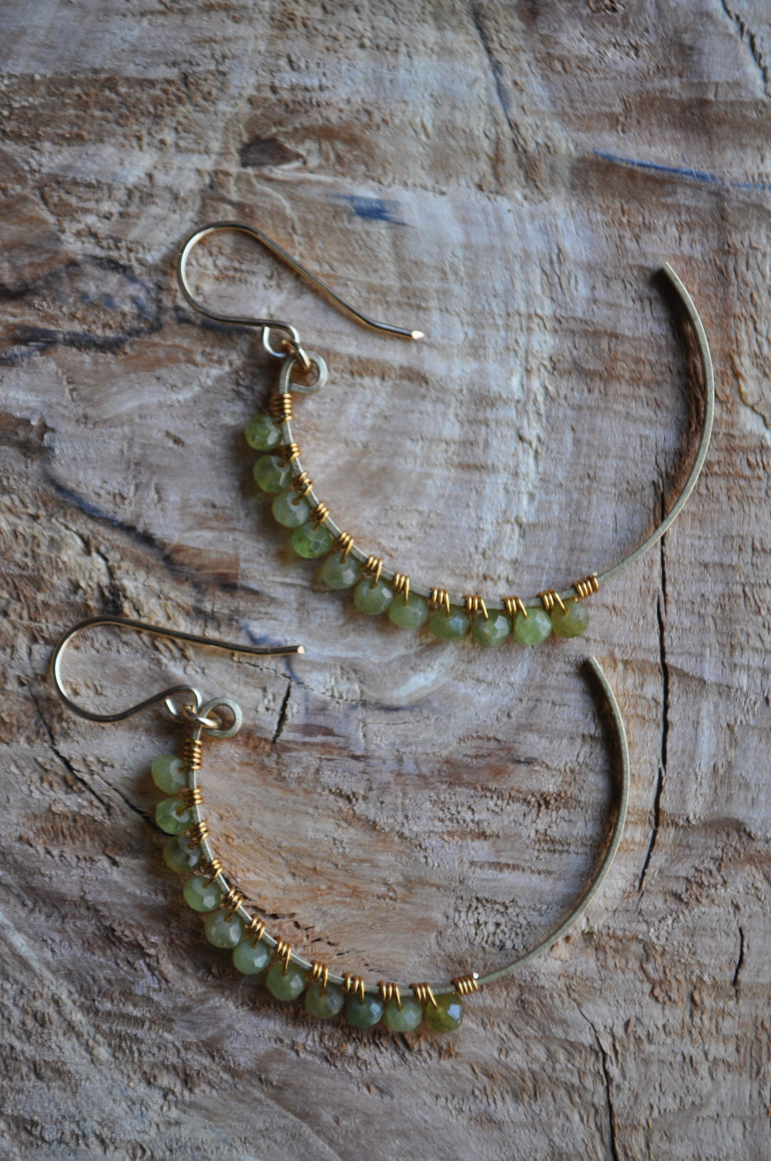 Image of Green Cats Eye Crescent Hoops