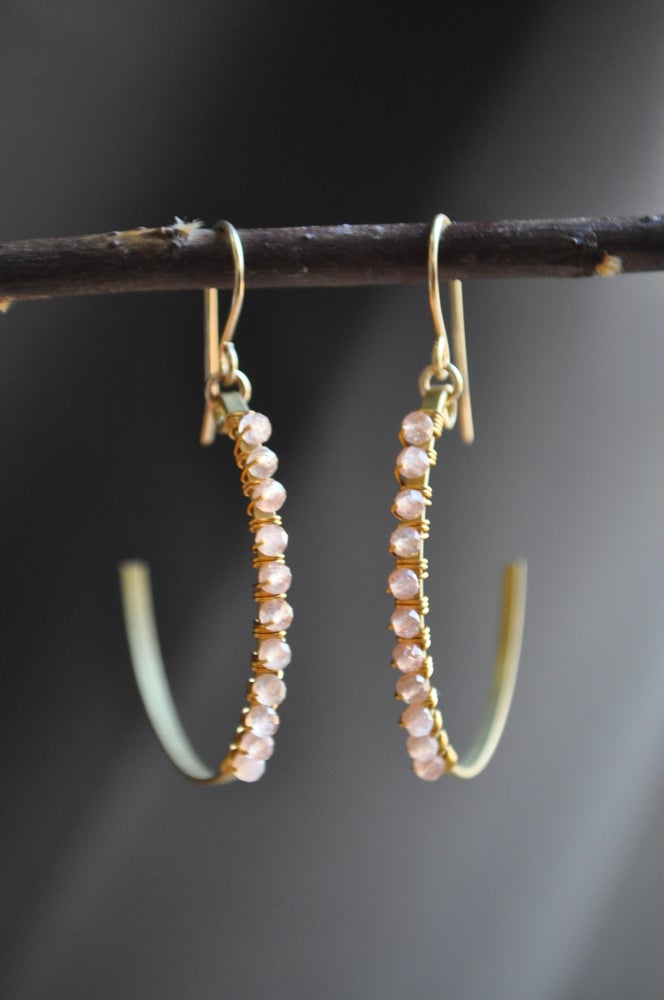Image of Peach Moonstone Crescent Hoops