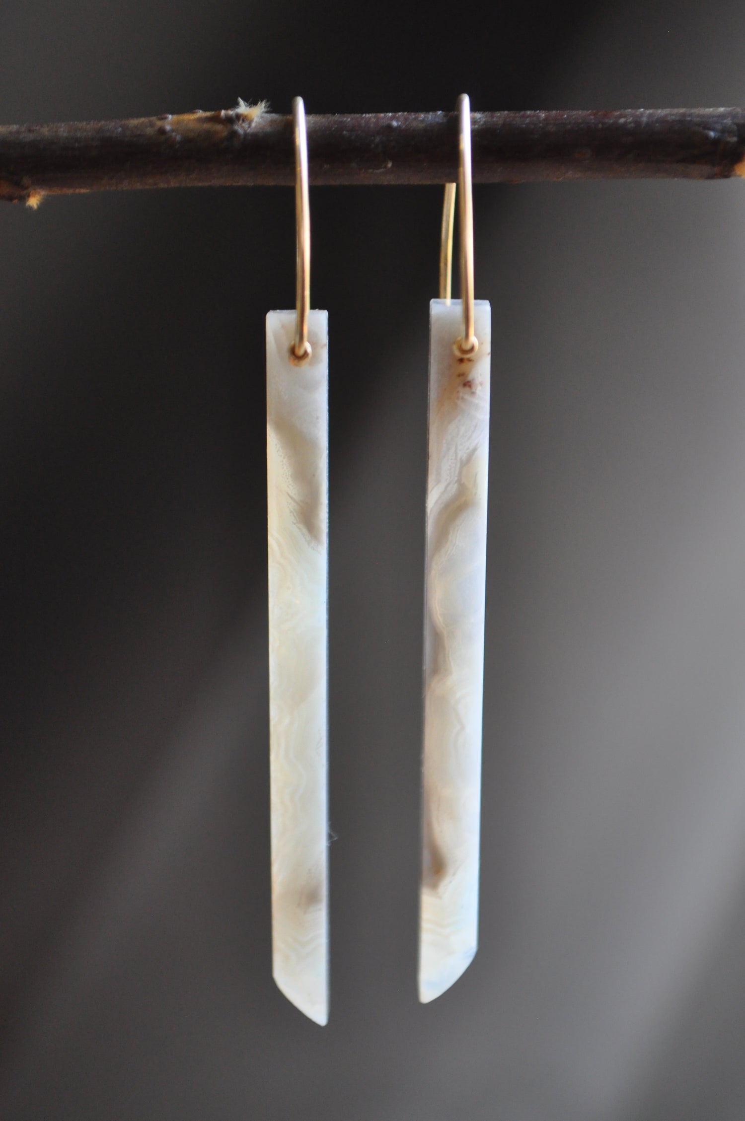 Image of OOAK Crazy Lace Agate Bar Dangles