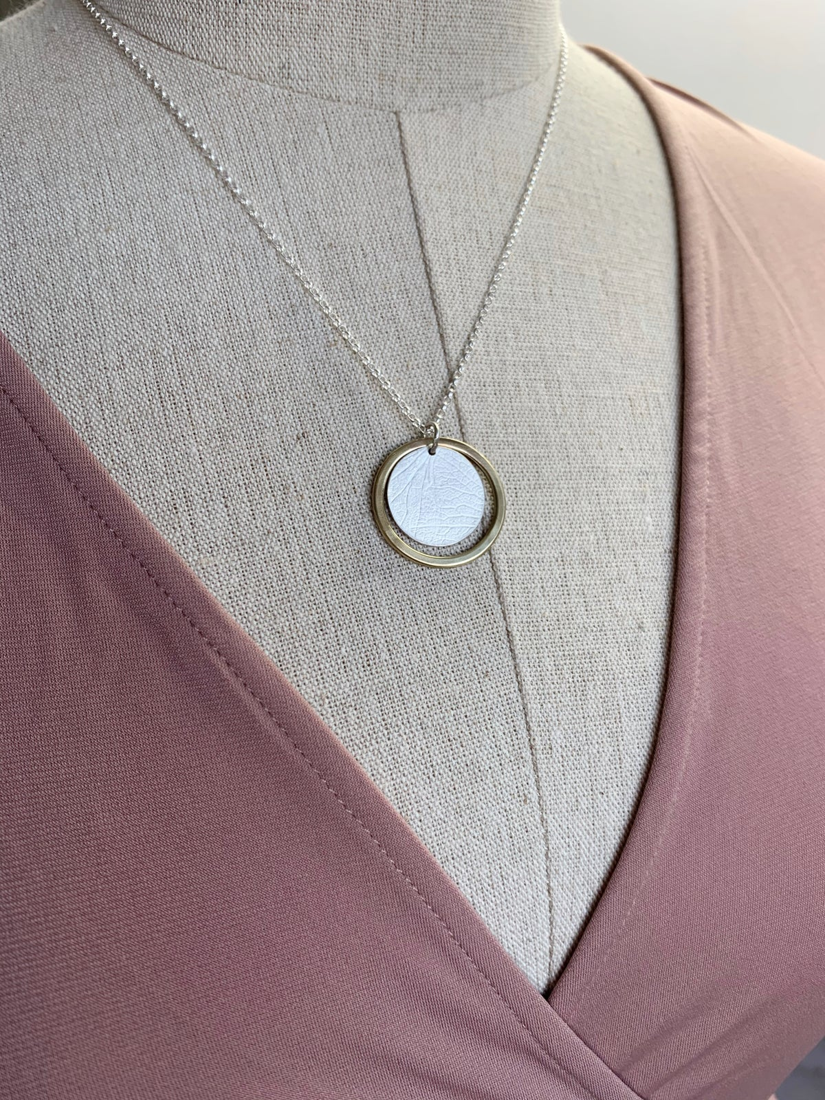 Image of Recycled silver disc and brass ring necklace