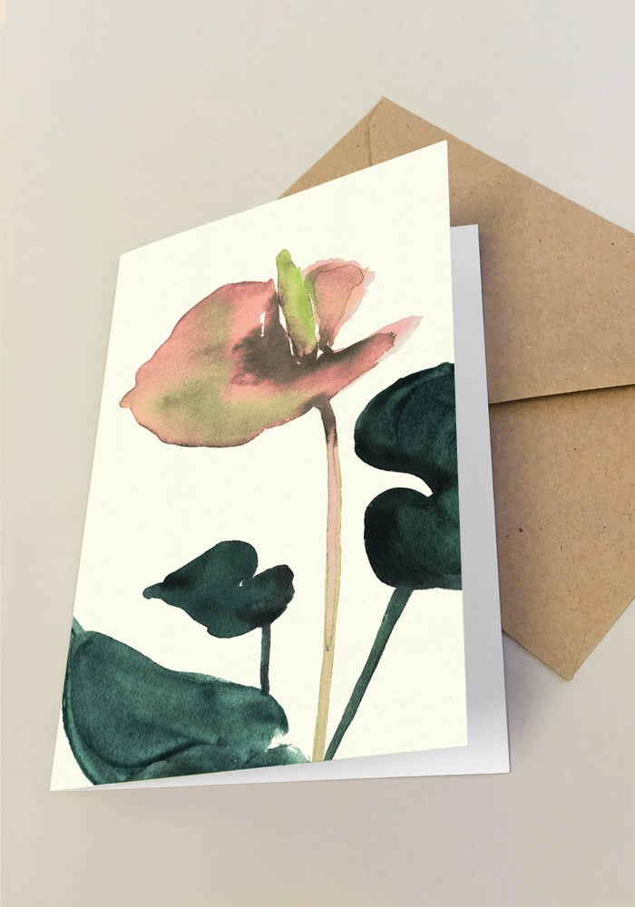 Image of 5 Notecards folded Flamingo Coral No.1009