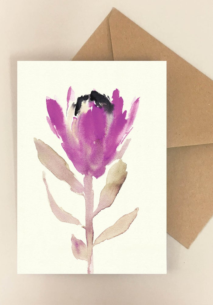 Image of 5 Notecards folded Protea Pink No.1007