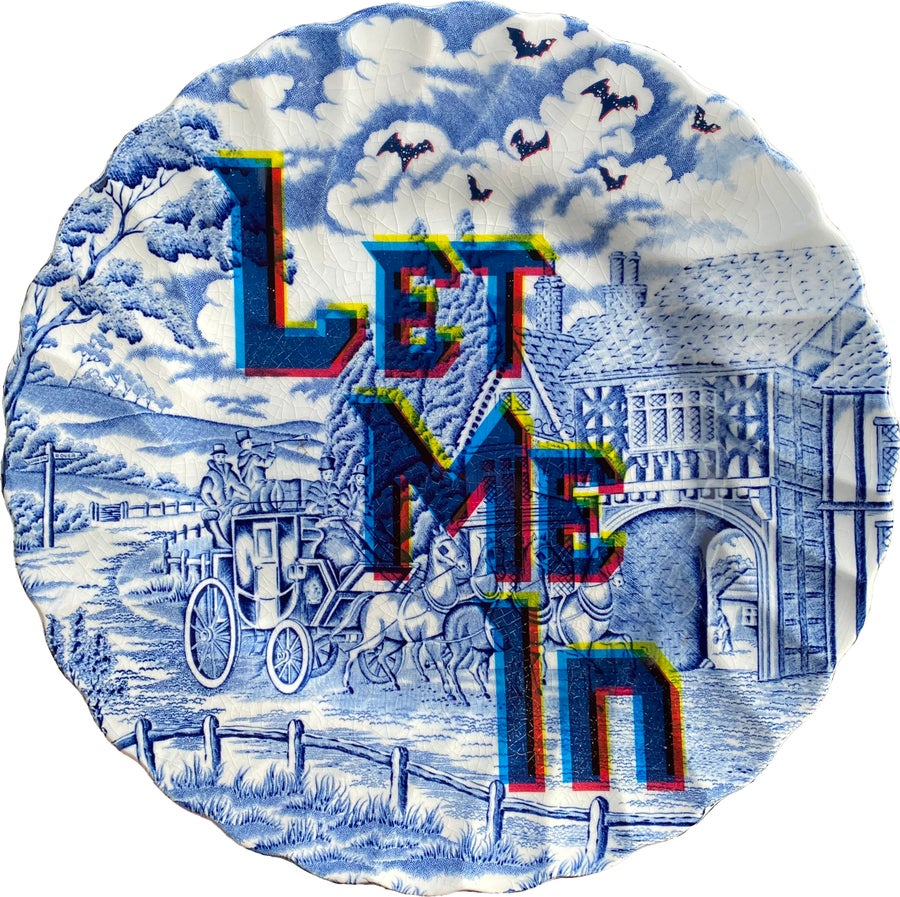 Image of Let me In - Vintage fine china Plate - UNIQUE PLATE- #0756