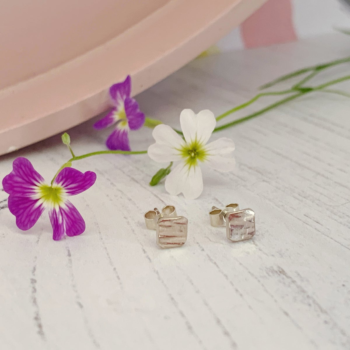 Image of Small square hammered silver stud earrings