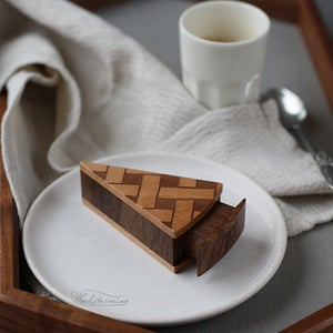 Image of Pie shape ring box with secret drawer