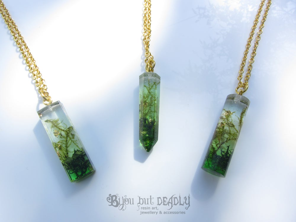 Real Moss Botanical Resin Obelisk Pendant