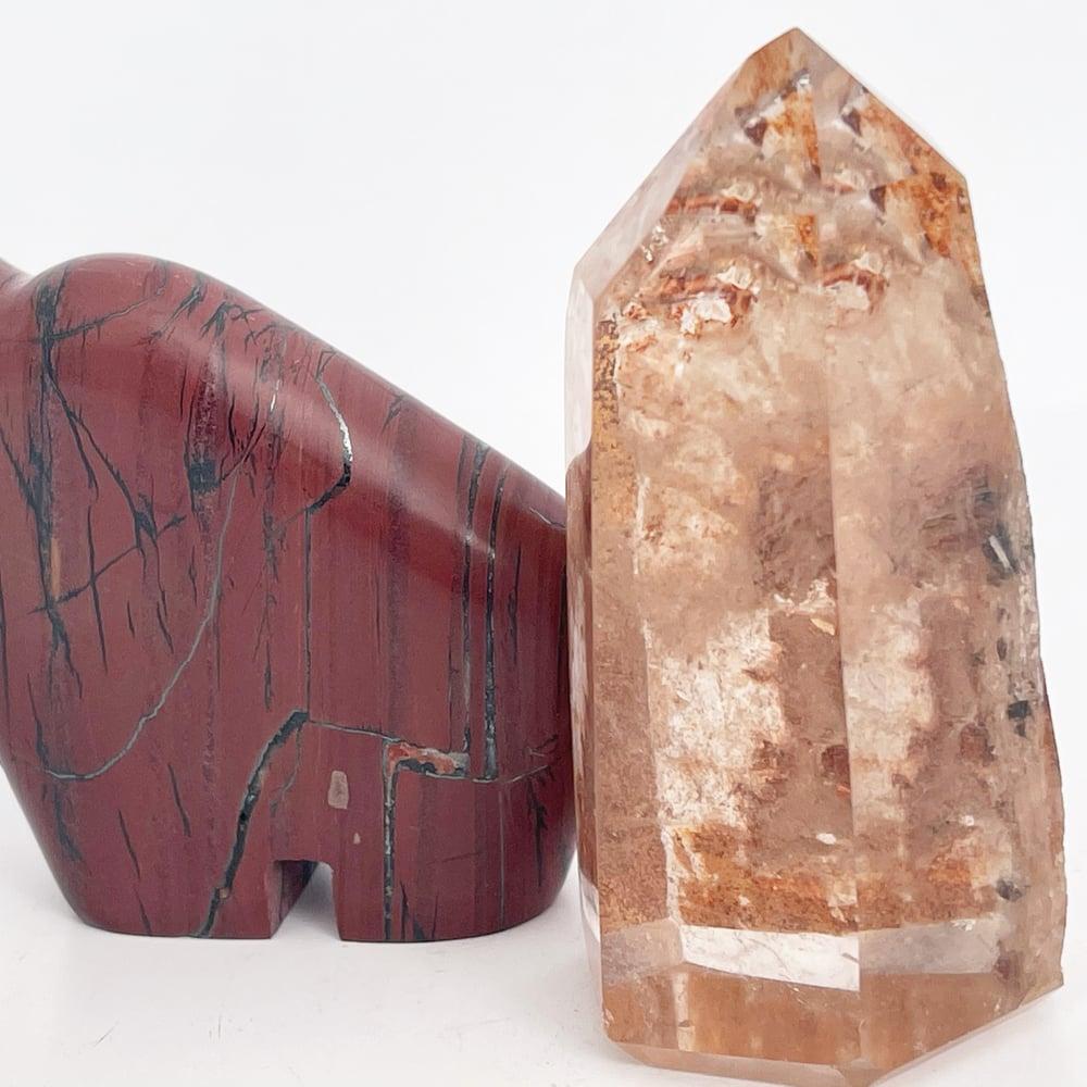 Image of Polished Lodolite Included Quartz Point